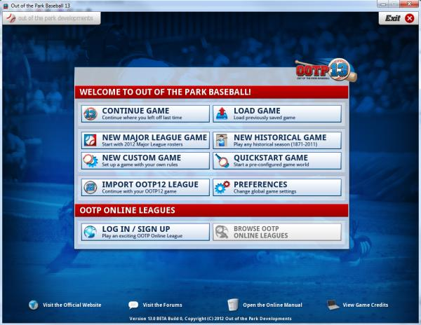 OOTP Main screen